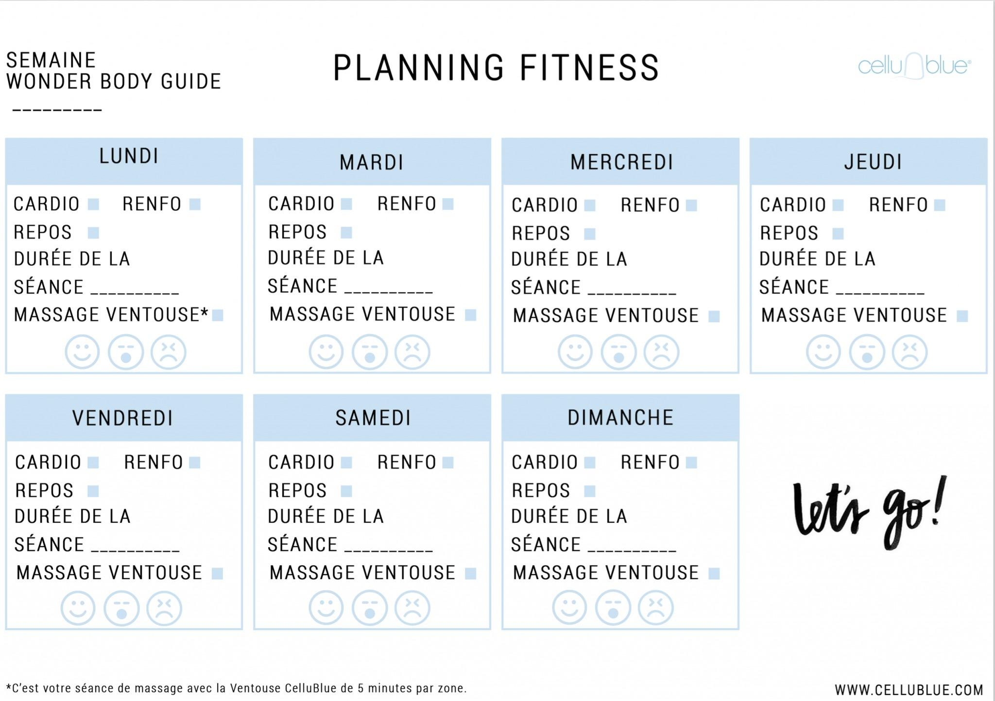 Fabuleux Votre planning alimentation et fitness de la semaine ! - CelluBlue MR39