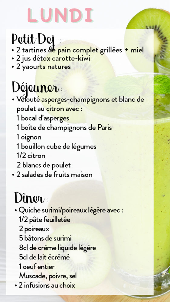 menu semaine anti cellulite